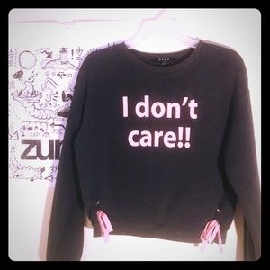 """""""I don't care"""" Gray Sweater"""